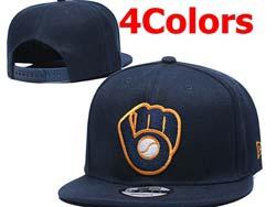 Mens Mlb Milwaukee Brewers Falt Snapback Adjustable Hats 4 Colors