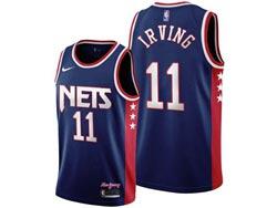 Mens 21-22 Nba Brooklyn Nets #11 Kyrie Irving Blue 75th City Edition Throwback Swingman Nike Jersey
