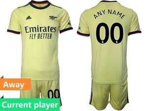 Mens 21-22 Soccer Arsenal Club Current Player Yellow Away Short Sleeve Suit Jersey