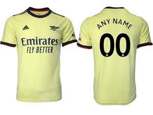 Mens 21-22 Soccer Arsenal Club Custom Made Yellow Away Thailand Short Sleeve Jersey