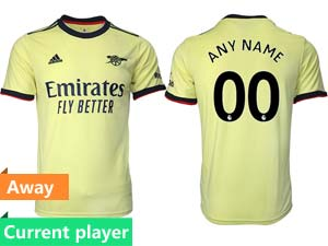 Mens 21-22 Soccer Arsenal Club Current Player Yellow Away Thailand Short Sleeve Jersey