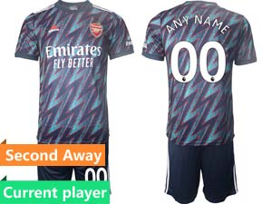 Mens Kids 21-22 Soccer Arsenal Club Current Player Blur Second Away Short Sleeve Suit Jersey