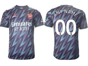 Mens 21-22 Soccer Arsenal Club Custom Made Blue Away Thailand Short Sleeve Jersey