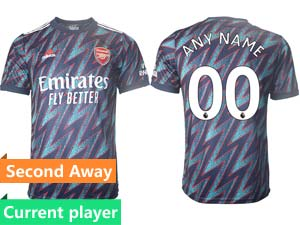 Mens 21-22 Soccer Arsenal Club Current Player Blue Away Thailand Short Sleeve Jersey