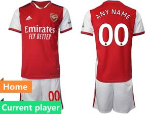 Mens Kids 21-22 Soccer Arsenal Club Current Player Red Home Short Sleeve Suit Jersey