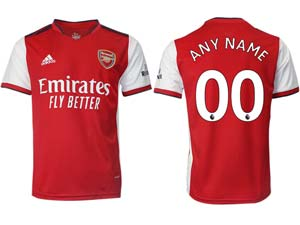 Mens 21-22 Soccer Arsenal Club Custom Made Red Home Thailand Short Sleeve Jersey