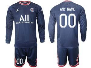 Mens Kids 21-22 Soccer Paris Saint Germain Custom Made Blue Home Long Sleeve Suit Jersey