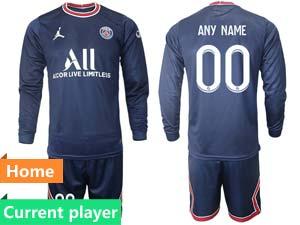 Mens Kids 21-22 Soccer Paris Saint Germain Current Player Blue Home Long Sleeve Suit Jersey