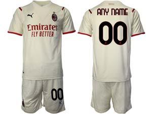 Mens Kids 21-22 Soccer Ac Milan Club Custom Made White Away Short Sleeve Suit Jersey