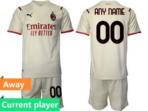 Mens Kids 21-22 Soccer Ac Milan Club Current Player White Away Short Sleeve Suit Jersey
