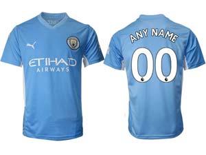 Mens 21-22 Soccer Manchester City Club Custom Made Blue Home Thailand Short Sleeve Jersey