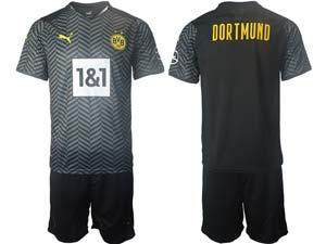 Mens Kids 21-22 Soccer Borussia Dortmund Club Custom Made Black Away Short Sleeve Suit Jersey