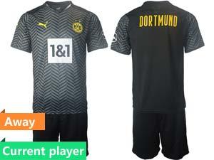 Mens Kids 21-22 Soccer Borussia Dortmund Club Current Player Black Away Short Sleeve Suit Jersey