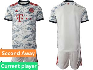 Mens Kids 21-22 Soccer Bayern Munchen Current Player White Second Away Short Sleeve Suit Jersey