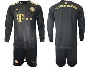 Mens 21-22 Soccer Bayern Munchen Custom Made Black Away Long Sleeve Suit Jersey