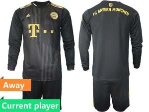 Mens 21-22 Soccer Bayern Munchen Current Player Black Away Long Sleeve Suit Jersey