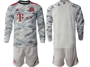 Mens 21-22 Soccer Bayern Munchen Custom Made White Second Away Long Sleeve Suit Jersey