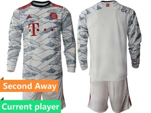 Mens 21-22 Soccer Bayern Munchen Current Player White Second Away Long Sleeve Suit Jersey