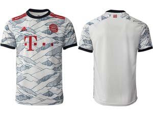 Mens 21-22 Soccer Bayern Munchen Custom Made White Second Away Thailand Short Sleeve Jersey