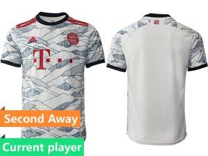 Mens 21-22 Soccer Bayern Munchen Current Player White Second Away Thailand Short Sleeve Jersey
