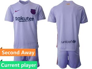 Mens Kids 21-22 Soccer Barcelona Club Current Player Purple Second Away Short Sleeve Suit Jersey