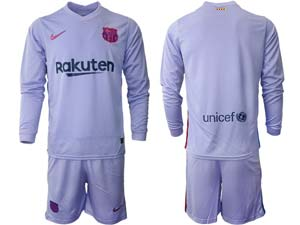 Mens 21-22 Soccer Barcelona Club Custom Made Purple Second Away Long Sleeve Suit Jersey