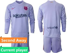 Mens 21-22 Soccer Barcelona Club Current Player Purple Second Away Long Sleeve Suit Jersey