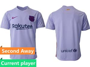 Mens 21-22 Soccer Barcelona Club Current Player Purple Second Away Thailand Short Sleeve Jersey