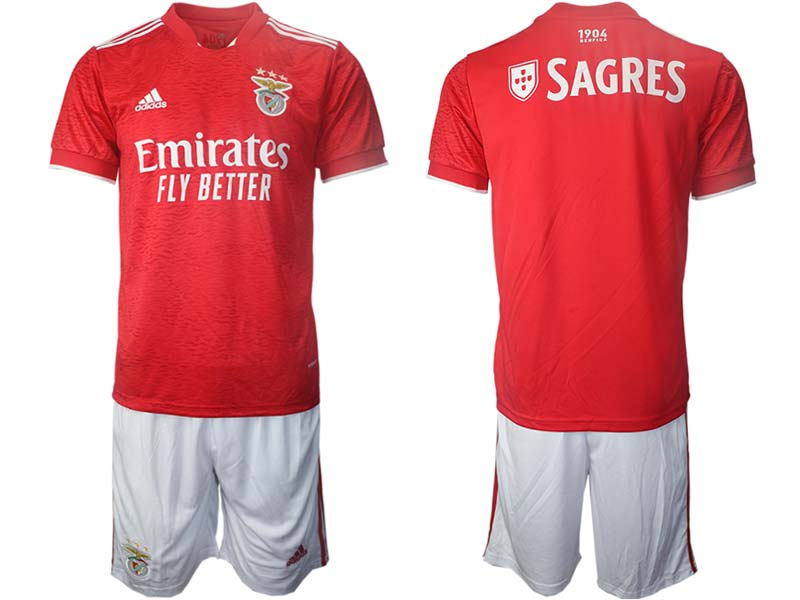 Mens 21-22 Soccer S.l. Benfica Club Custom Made Red Home Short Sleeve Suit Jersey