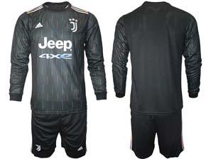 Mens 21-22 Soccer Juventus Club Custom Made Black Away Long Sleeve Suit Jersey