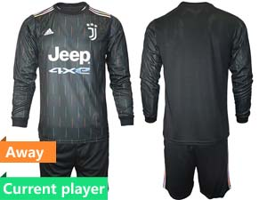 Mens 21-22 Soccer Juventus Club Current Player Black Away Long Sleeve Suit Jersey