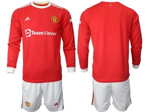 Mens 21-22 Soccer Club Manchester United Custom Made Red Home Long Sleeve Suit Jersey