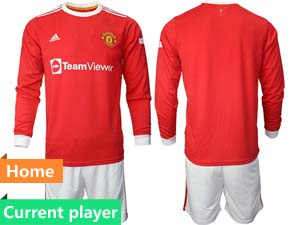 Mens 21-22 Soccer Club Manchester United Current Player Red Home Long Sleeve Suit Jersey