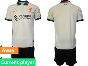 Mens Kids 21-22 Soccer Liverpool Club Current Player White Away Short Sleeve Suit Jersey