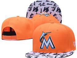 Mens Mlb Miami Marlins Falt Snapback Adjustable Hats Orange