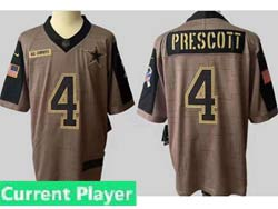 Mens Women Youth Nfl Dallas Cowboys Current Player Olive Green 2021 Salute To Service Limited Jersey