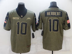 Mens Nfl Los Angeles Chargers #10 Justin Herbert Olive Green 2021 Salute To Service Limited Nike Jersey