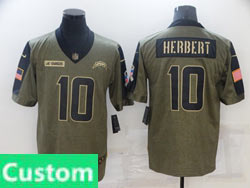 Mens Women Youth Nfl Los Angeles Chargers Custom Made  Olive Green 2021 Salute To Service Limited Nike Jersey