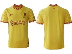 Mens 21-22 Soccer Liverpool Club Custom Made Yellow Second Away Thailand Short Sleeve Jersey