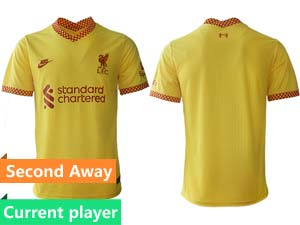 Mens 21-22 Soccer Liverpool Club Current Player Yellow Second Away Thailand Short Sleeve Jersey