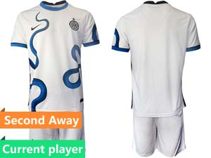 Mens 21-22 Soccer Inter Milan Club Current Player White Second Away Short Sleeve Suit Jersey