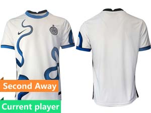 Mens 21-22 Soccer Inter Milan Club Current Player White Second Away Thailand Short Sleeve Jersey