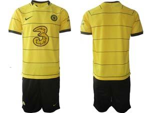 Mens Kids 21-22 Soccer Chelsea Club Custom Made Yellow Stripe Away Short Sleeve Suit Jersey