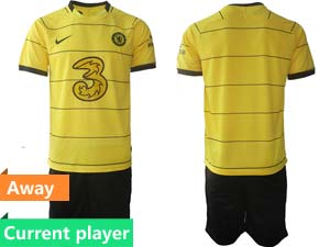 Mens Kids 21-22 Soccer Chelsea Club Current Player Yellow Stripe Away Short Sleeve Suit Jersey