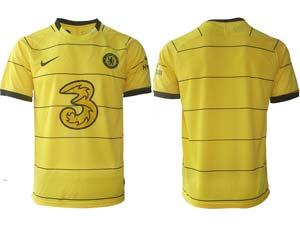 Mens 21-22 Soccer Chelsea Club Custom Made Yellow Stripe Away Thailand Short Sleeve Jersey