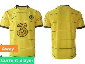 Mens 21-22 Soccer Chelsea Club Current Player Yellow Stripe Away Thailand Short Sleeve Jersey
