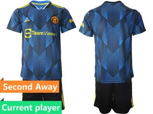 Mens Kids 21-22 Soccer Club Manchester United Current Player Blue Second Away Short Sleeve Suit Jersey