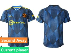Mens 21-22 Soccer Club Manchester United Current Player Blue Second Away Thailand Short Sleeve Jersey
