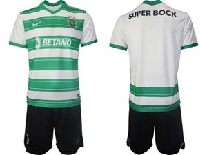Mens 21-22 Soccer Sporting Cp Club Custom Made White Stripe Home Short Sleeve Suit Jersey