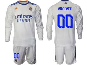 Mens 21-22 Soccer Real Madrid Club Custom Made White Home Long Sleeve Suit Jersey